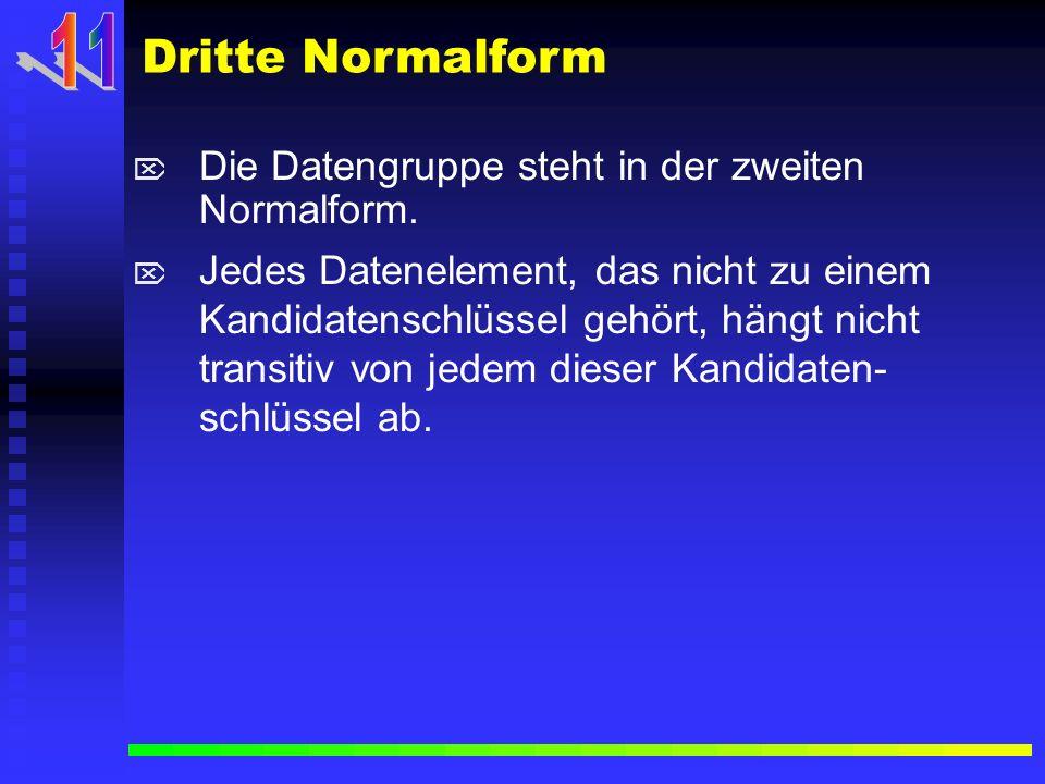 Die Datengruppe steht in der zweiten Normalform. Jedes Datenelement, das nicht zu einem Kandidatenschlüssel gehört, hängt nicht transitiv von jedem di