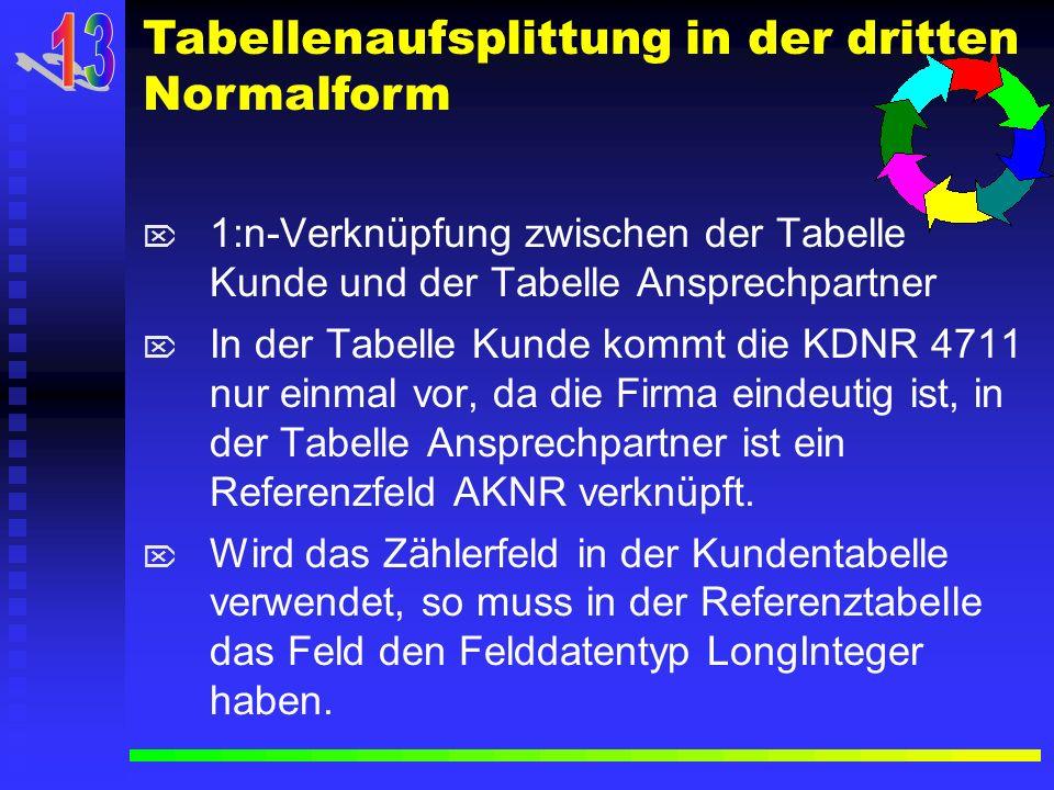 1:n-Verknüpfung zwischen der Tabelle Kunde und der Tabelle Ansprechpartner In der Tabelle Kunde kommt die KDNR 4711 nur einmal vor, da die Firma einde