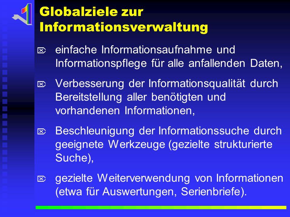 einfache Informationsaufnahme und Informationspflege für alle anfallenden Daten, Verbesserung der Informationsqualität durch Bereitstellung aller benö