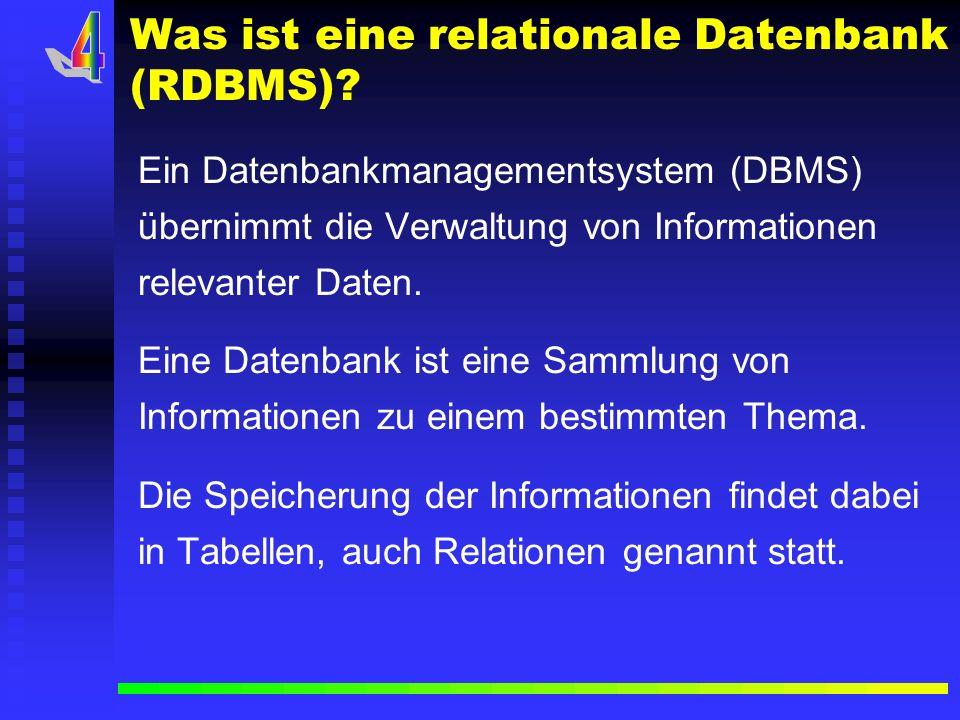 Elemente einer relationalen Datenbank? a) a)Tabelle b) b)Spalte (Feldname) c) c)Zeile d) d)Feld