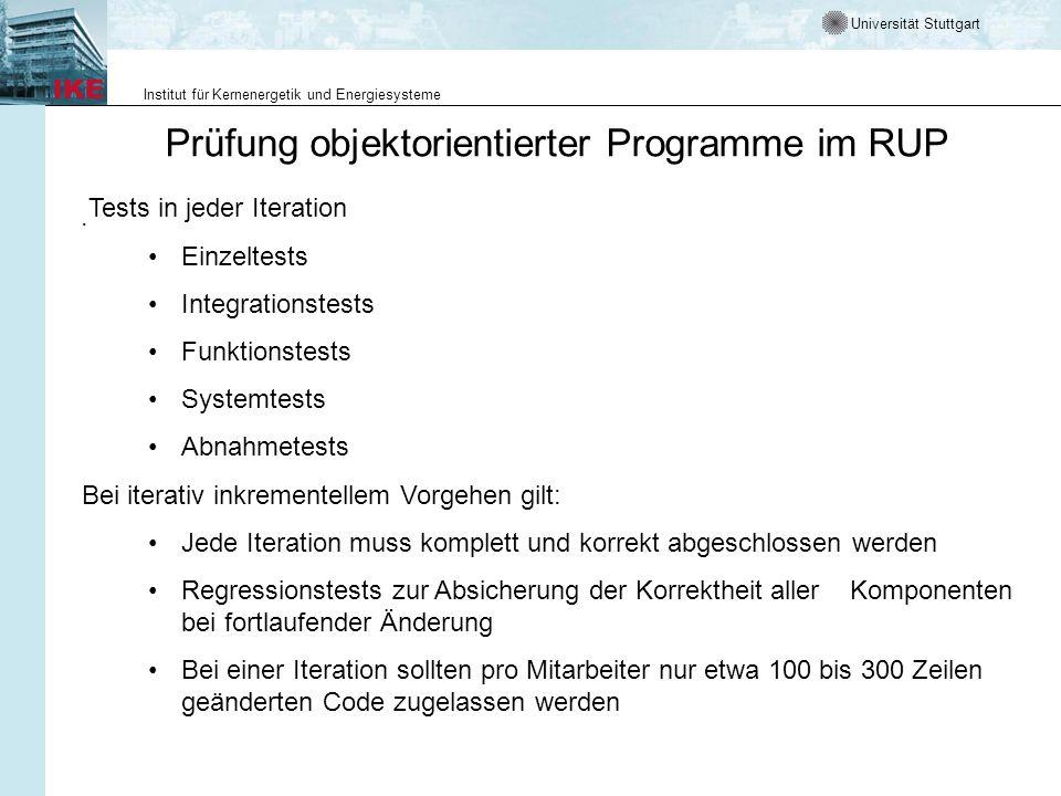 Universität Stuttgart Institut für Kernenergetik und Energiesysteme Prüfung objektorientierter Programme im RUP. Tests in jeder Iteration Einzeltests