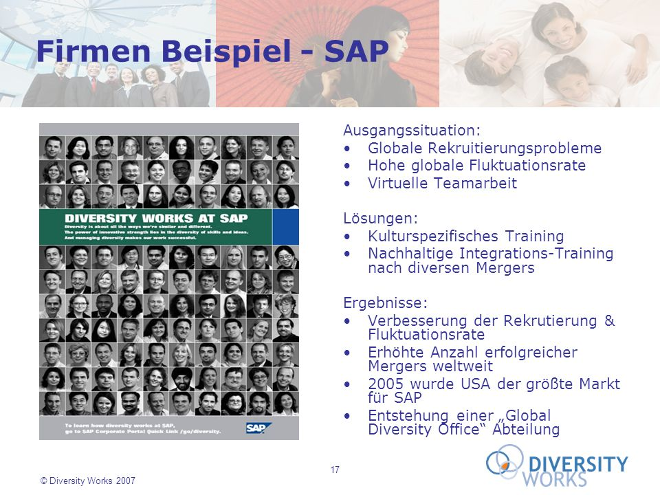 17 © Diversity Works 2007 Firmen Beispiel - SAP Ausgangssituation: Globale Rekruitierungsprobleme Hohe globale Fluktuationsrate Virtuelle Teamarbeit L
