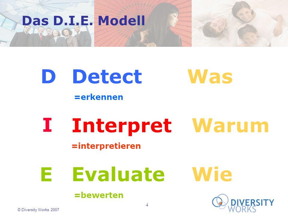 4 © Diversity Works 2007 D I E Detect Was =erkennen Interpret Warum =interpretieren Evaluate Wie =bewerten Das D.I.E. Modell