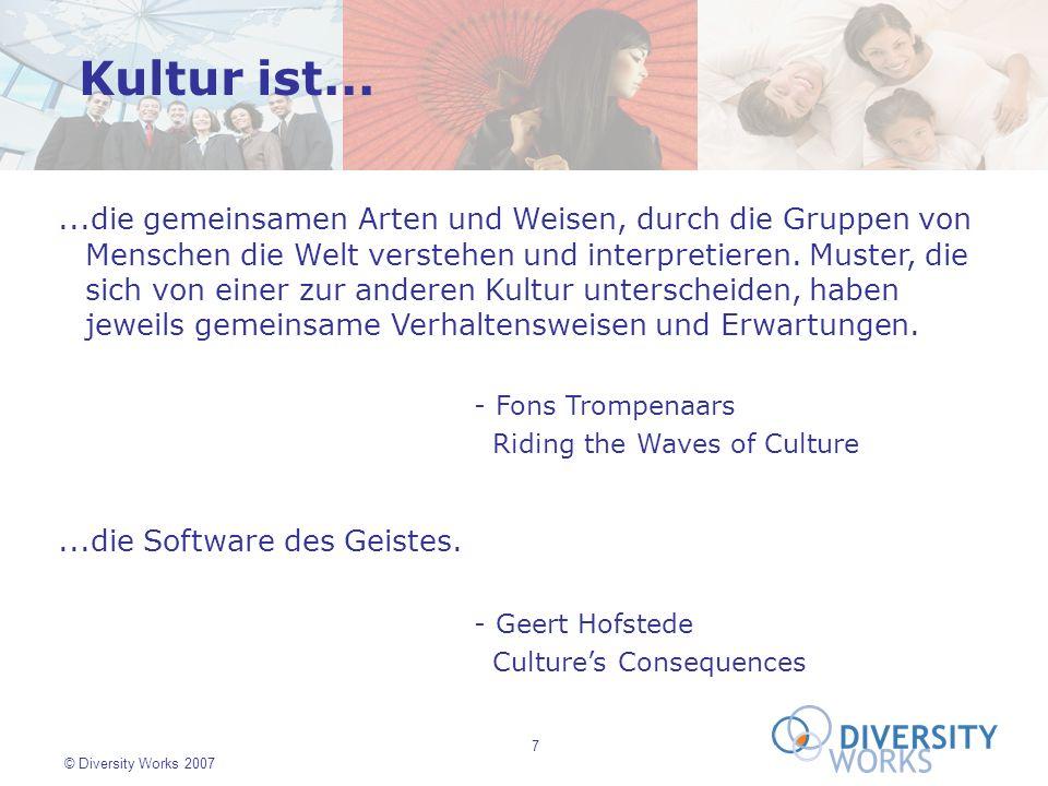 7 © Diversity Works 2007...die gemeinsamen Arten und Weisen, durch die Gruppen von Menschen die Welt verstehen und interpretieren. Muster, die sich vo