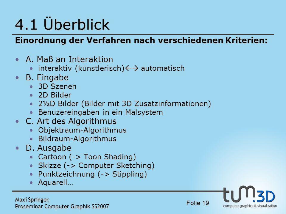 computer graphics & visualization Folie 19 Maxi Springer, Proseminar Computer Graphik SS2007 4.1 Überblick Einordnung der Verfahren nach verschiedenen