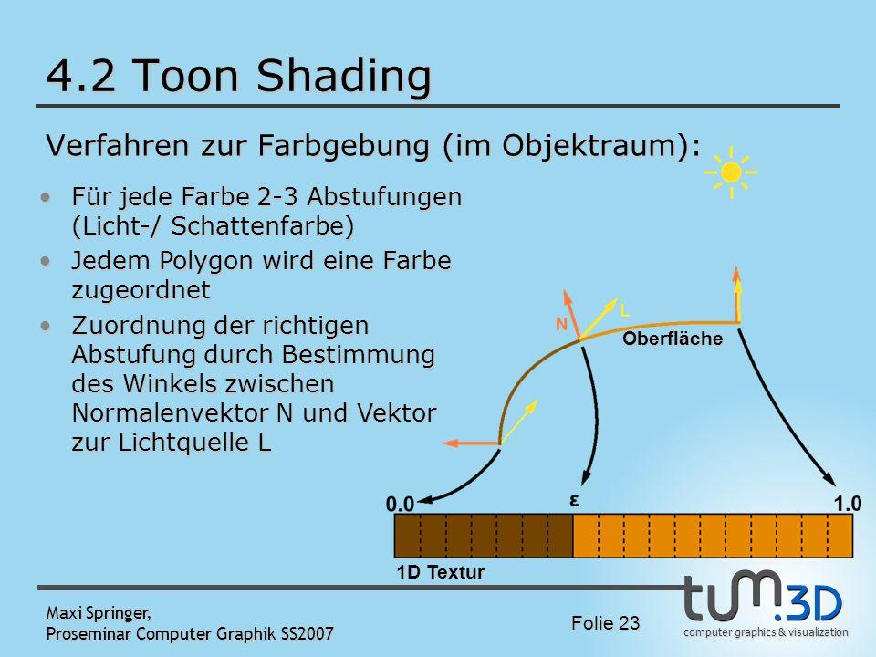 computer graphics & visualization Folie 23 Maxi Springer, Proseminar Computer Graphik SS2007 4.2 Toon Shading Verfahren zur Farbgebung (im Objektraum)