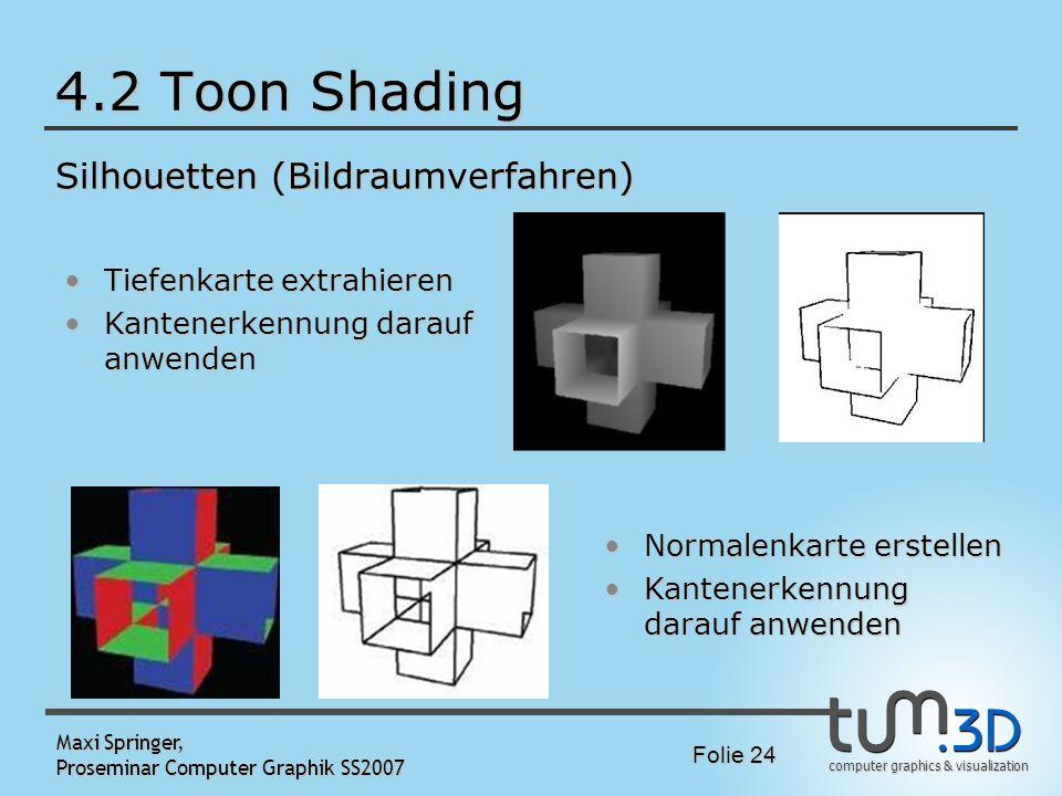 computer graphics & visualization Folie 24 Maxi Springer, Proseminar Computer Graphik SS2007 4.2 Toon Shading Silhouetten (Bildraumverfahren) Tiefenka
