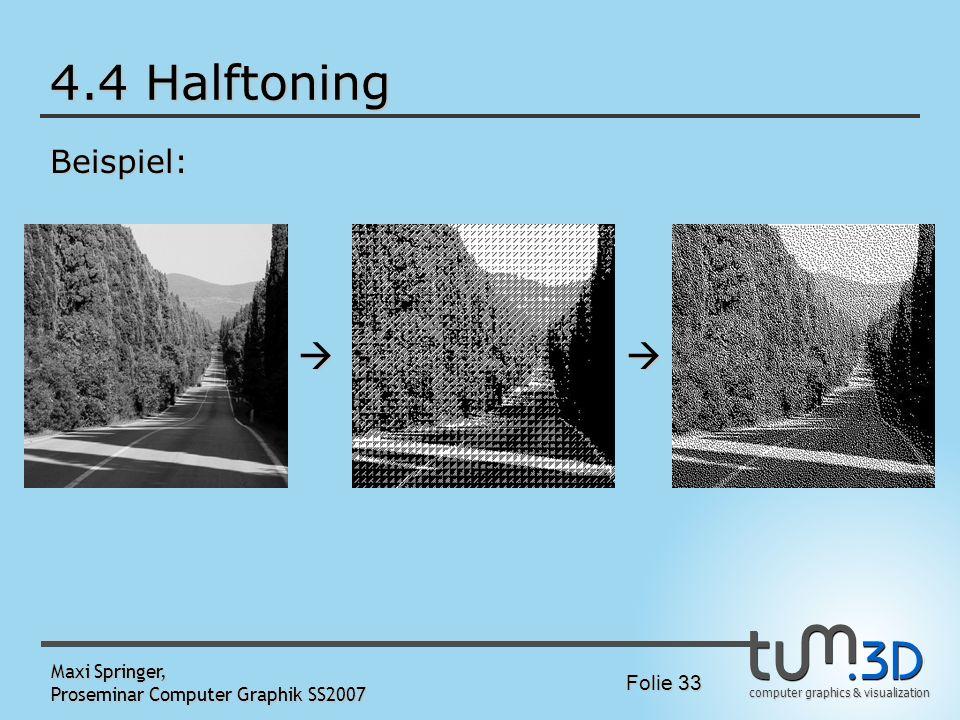 computer graphics & visualization Folie 33 Maxi Springer, Proseminar Computer Graphik SS2007 4.4 Halftoning Beispiel: