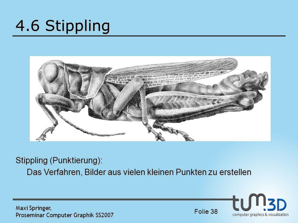 computer graphics & visualization Folie 38 Maxi Springer, Proseminar Computer Graphik SS2007 4.6 Stippling Stippling (Punktierung): Das Verfahren, Bil