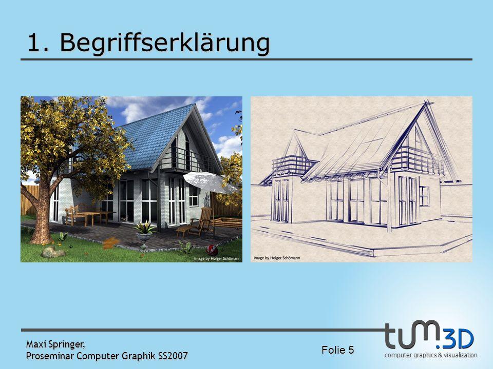 computer graphics & visualization Folie 5 Maxi Springer, Proseminar Computer Graphik SS2007 1. Begriffserklärung