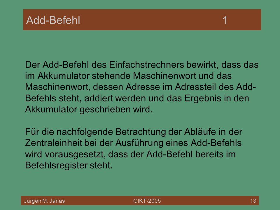 Jürgen M. JanasGIKT-200513 Add-Befehl1 Der Add-Befehl des Einfachstrechners bewirkt, dass das im Akkumulator stehende Maschinenwort und das Maschinenw