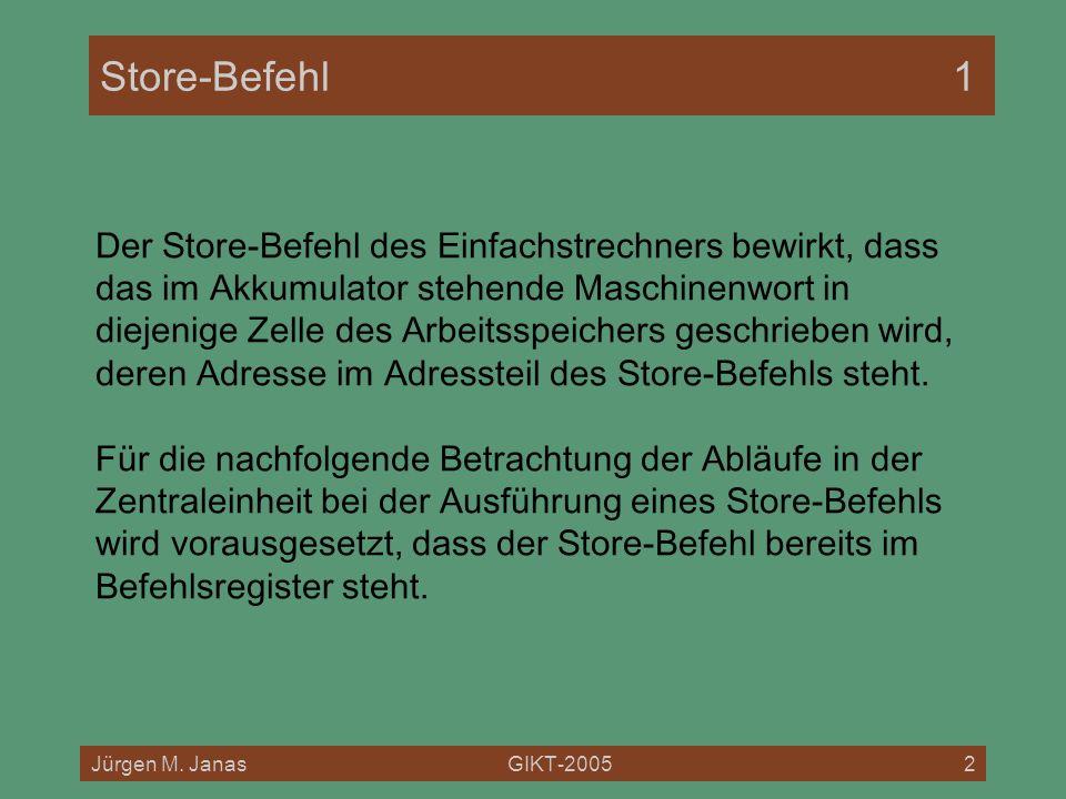 Jürgen M. JanasGIKT-20052 Store-Befehl1 Der Store-Befehl des Einfachstrechners bewirkt, dass das im Akkumulator stehende Maschinenwort in diejenige Ze