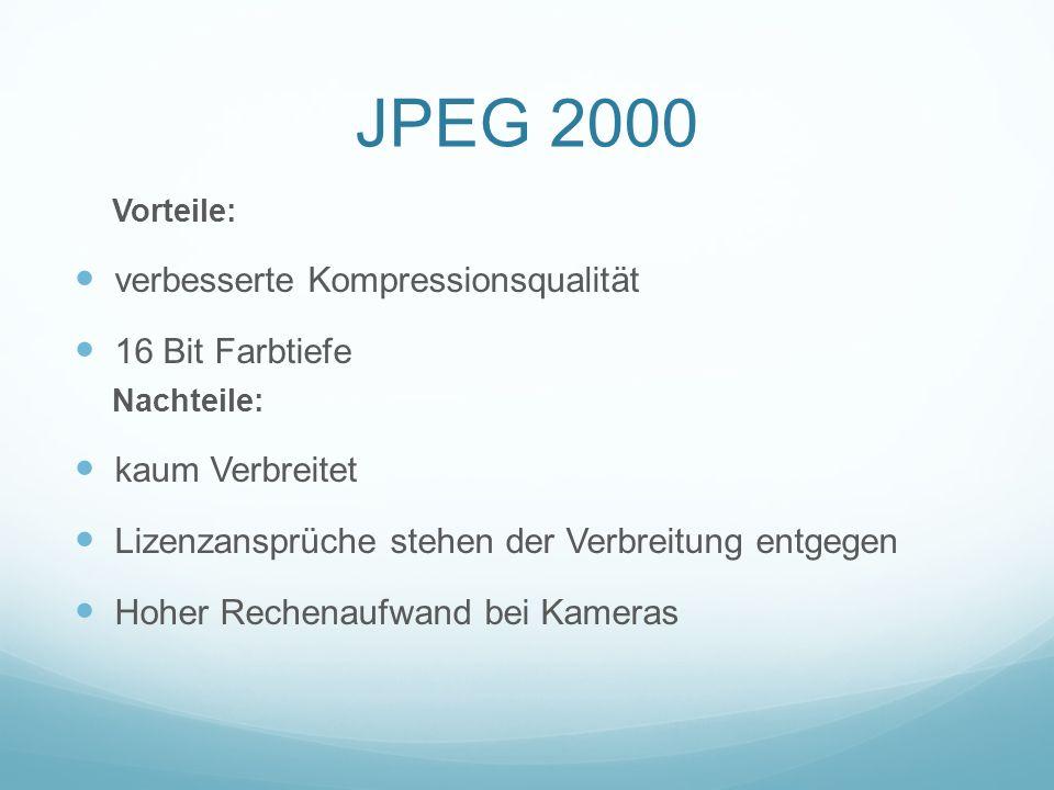 JPEG 2000 Vorteile: verbesserte Kompressionsqualität 16 Bit Farbtiefe Nachteile: kaum Verbreitet Lizenzansprüche stehen der Verbreitung entgegen Hoher
