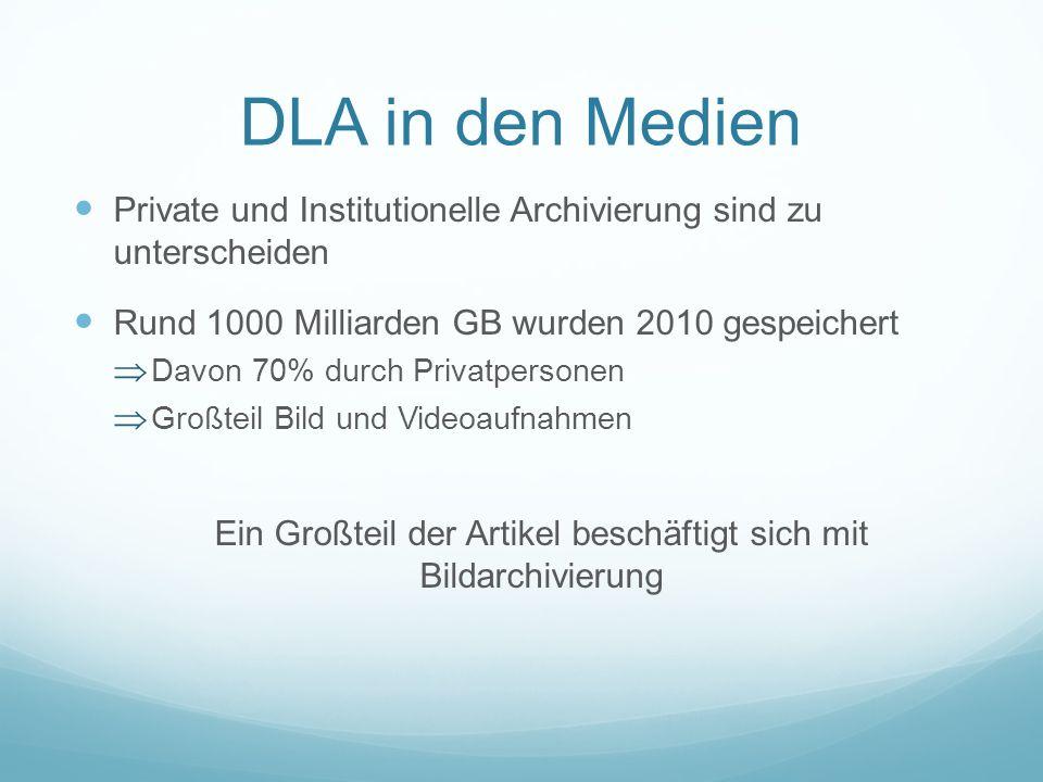 DLA in den Medien Private und Institutionelle Archivierung sind zu unterscheiden Rund 1000 Milliarden GB wurden 2010 gespeichert Davon 70% durch Priva