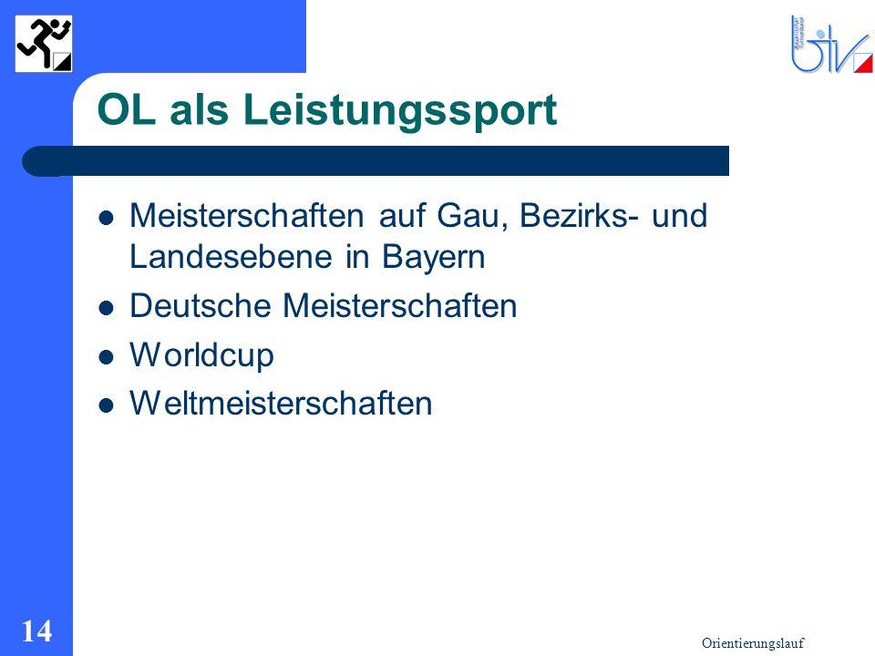 Orientierungslauf 14 OL als Leistungssport Meisterschaften auf Gau, Bezirks- und Landesebene in Bayern Deutsche Meisterschaften Worldcup Weltmeistersc