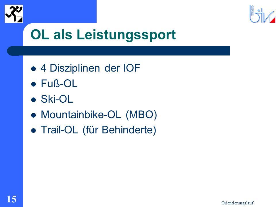 Orientierungslauf 15 OL als Leistungssport 4 Disziplinen der IOF Fuß-OL Ski-OL Mountainbike-OL (MBO) Trail-OL (für Behinderte)