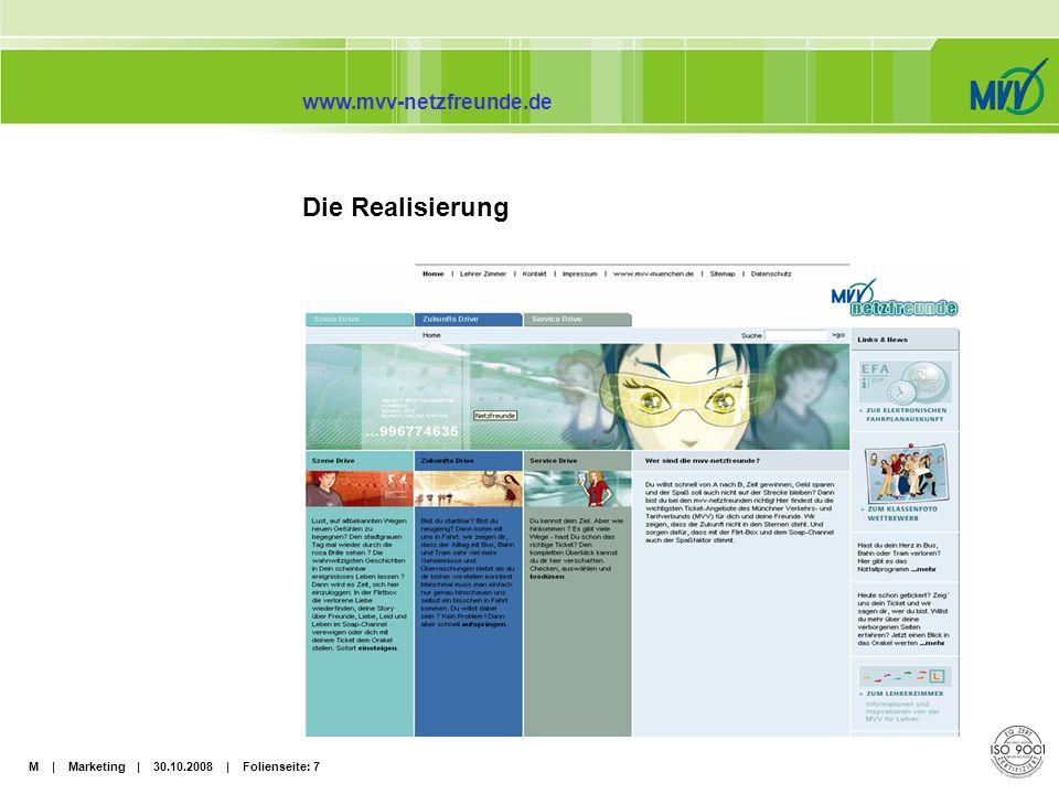 M | Marketing | 30.10.2008 | Folienseite: 8 www.mvv-netzfreunde.de Marktforschung Für die Benennung der Website wurde eine eigene Namensforschung durchgeführt.