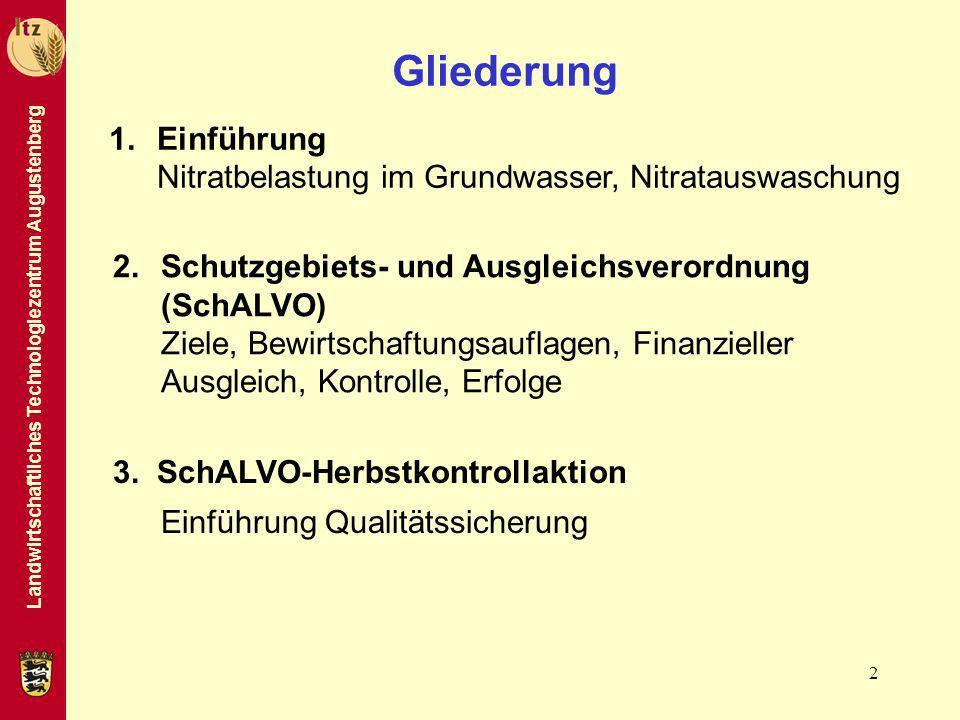 Landwirtschaftliches Technologiezentrum Augustenberg 2 Gliederung 2.Schutzgebiets- und Ausgleichsverordnung (SchALVO) Ziele, Bewirtschaftungsauflagen,