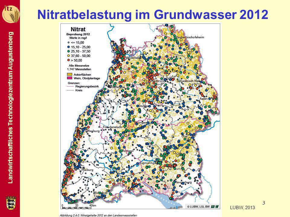 Landwirtschaftliches Technologiezentrum Augustenberg 3 Nitratbelastung im Grundwasser 2012 LUBW, 2013