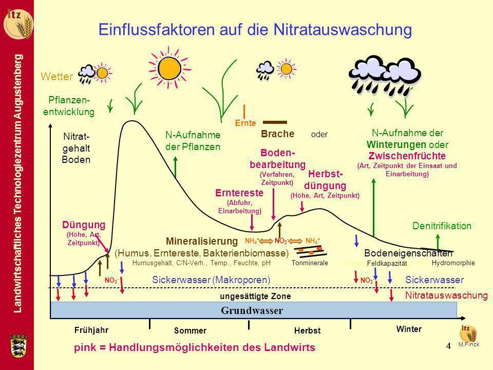Landwirtschaftliches Technologiezentrum Augustenberg 444 Frühjahr Sommer Herbst Winter Düngung (Höhe, Art, Zeitpunkt) Ernte N-Aufnahme der Pflanzen N-