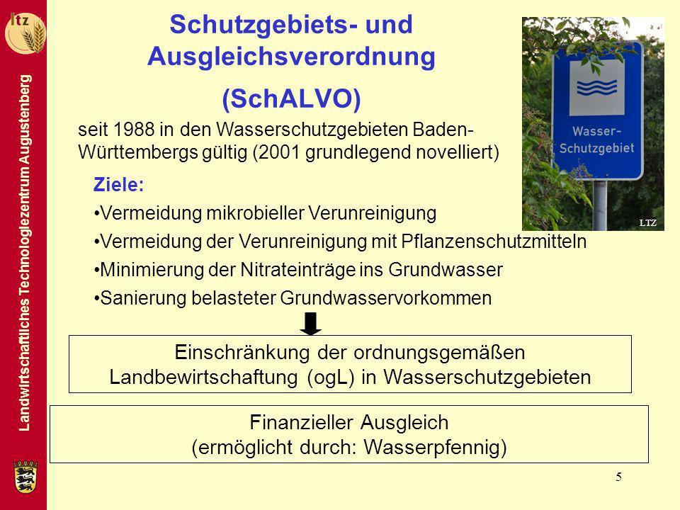 Landwirtschaftliches Technologiezentrum Augustenberg 5 Schutzgebiets- und Ausgleichsverordnung (SchALVO) Einschränkung der ordnungsgemäßen Landbewirts