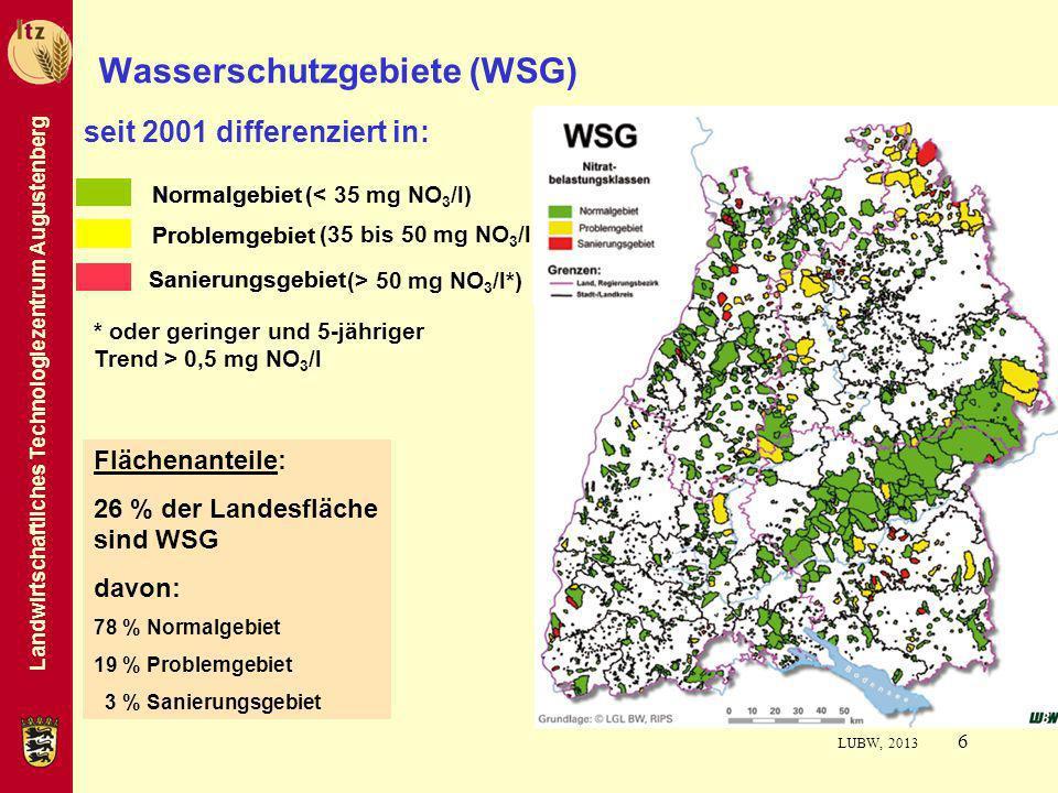 Landwirtschaftliches Technologiezentrum Augustenberg 6 Wasserschutzgebiete (WSG) Flächenanteile: 26 % der Landesfläche sind WSG davon: 78 % Normalgebi