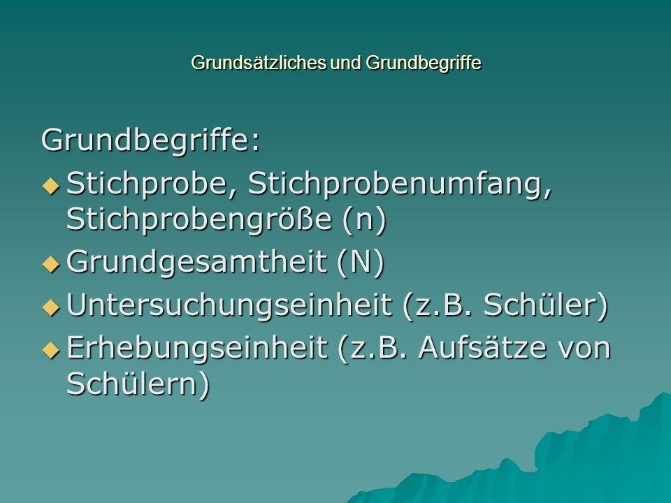 Grundsätzliches und Grundbegriffe Grundbegriffe: Stichprobe, Stichprobenumfang, Stichprobengröße (n) Stichprobe, Stichprobenumfang, Stichprobengröße (