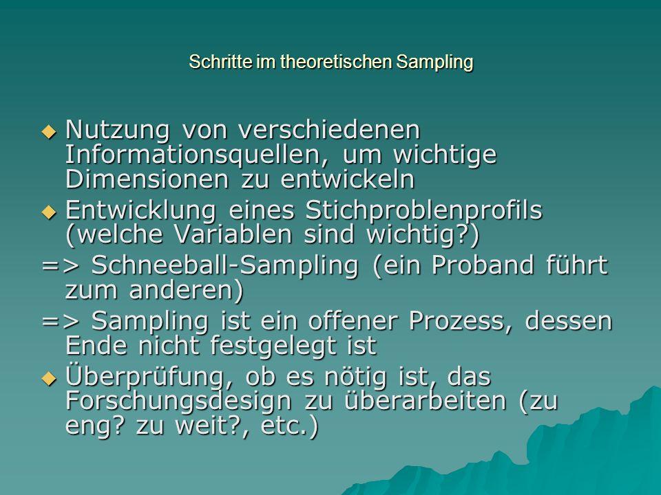 Schritte im theoretischen Sampling Nutzung von verschiedenen Informationsquellen, um wichtige Dimensionen zu entwickeln Nutzung von verschiedenen Info