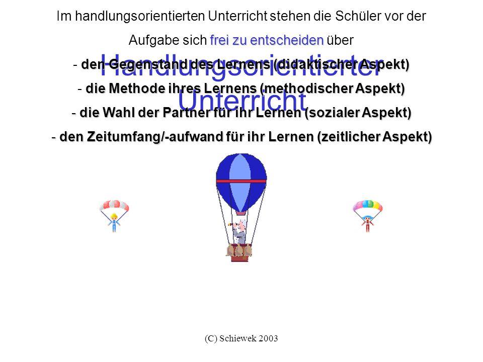 (C) Schiewek 2003 Handlungsorientierter Unterricht frei zu entscheiden Im handlungsorientierten Unterricht stehen die Schüler vor der Aufgabe sich fre