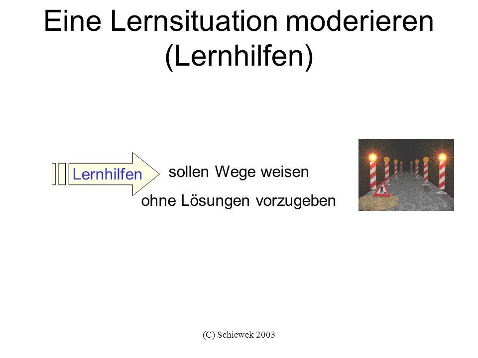 (C) Schiewek 2003 Eine Lernsituation moderieren (Lernhilfen) sollen Wege weisen ohne Lösungen vorzugeben Lernhilfen