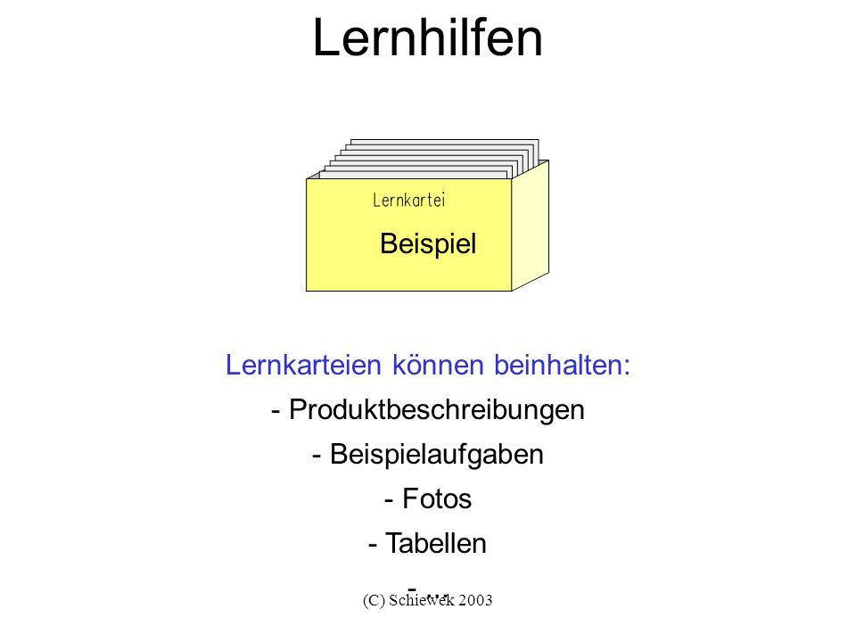(C) Schiewek 2003 Lernhilfen Lernkarteien können beinhalten: - Produktbeschreibungen - Beispielaufgaben - Fotos - Tabellen -... Beispiel
