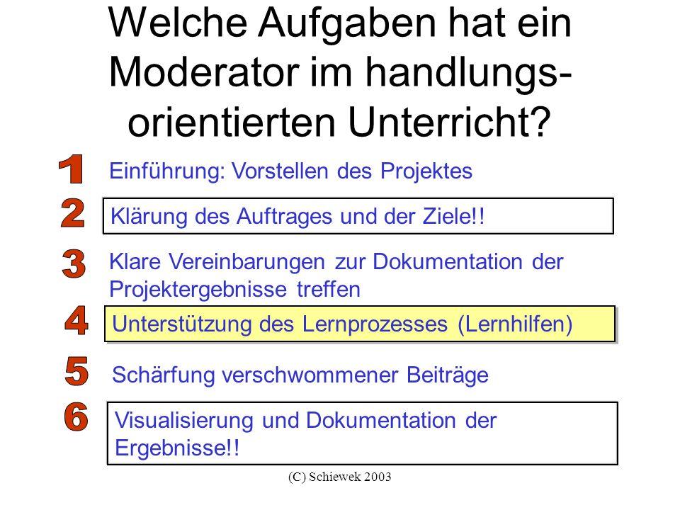 (C) Schiewek 2003 Eine Lernsituation moderieren Wir erinnern uns?!.