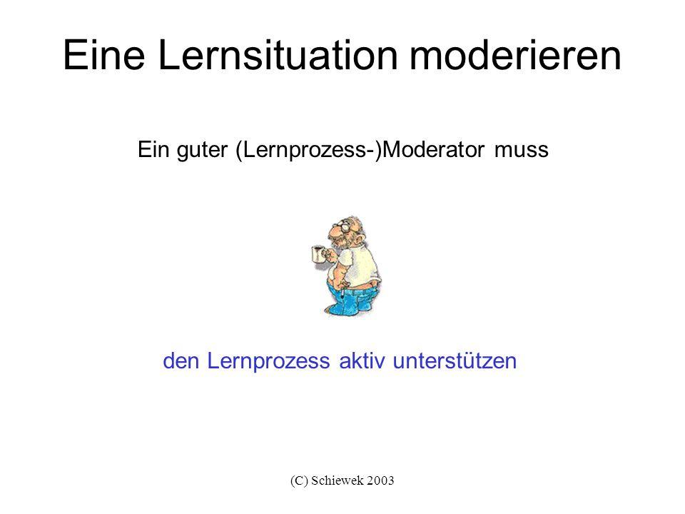 (C) Schiewek 2003 Eine Lernsituation moderieren nicht enttäuscht sein, wenn sich nicht seine Vorstellungen erfüllen Ein guter (Lernprozess-)Moderator darf