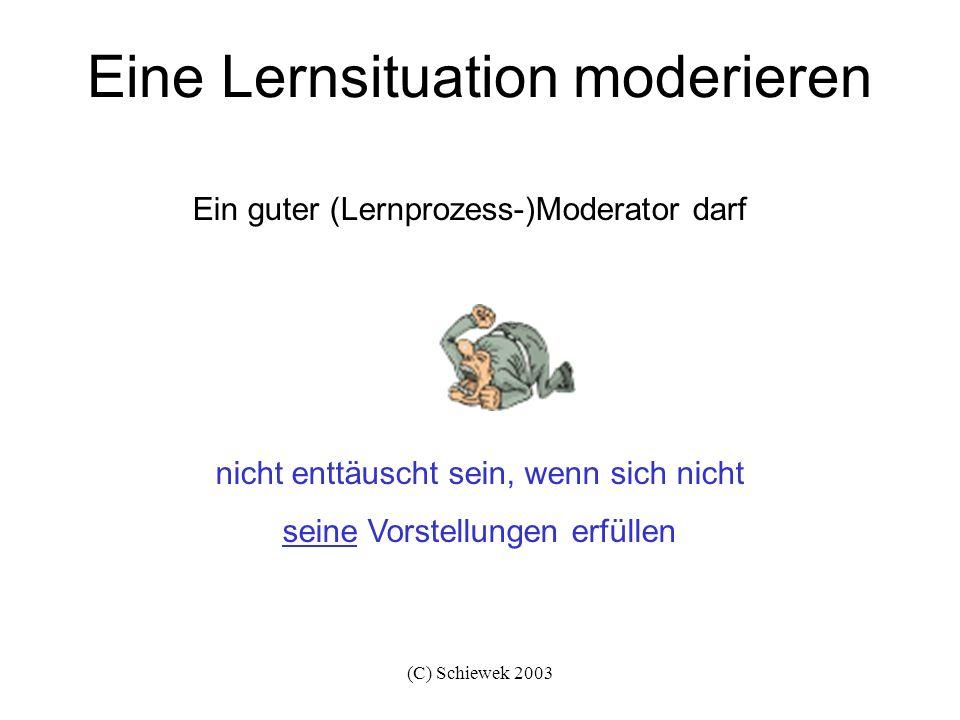 (C) Schiewek 2003 Eine Lernsituation moderieren nicht enttäuscht sein, wenn sich nicht seine Vorstellungen erfüllen Ein guter (Lernprozess-)Moderator