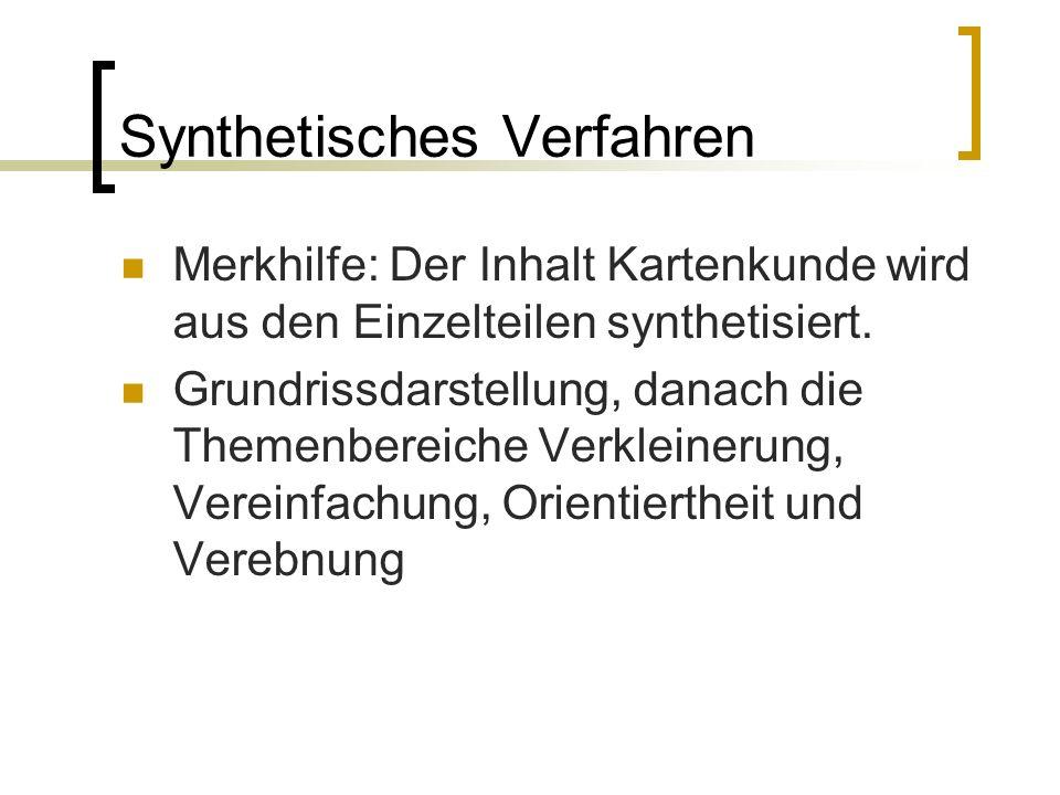 Synthetisches Verfahren Merkhilfe: Der Inhalt Kartenkunde wird aus den Einzelteilen synthetisiert. Grundrissdarstellung, danach die Themenbereiche Ver