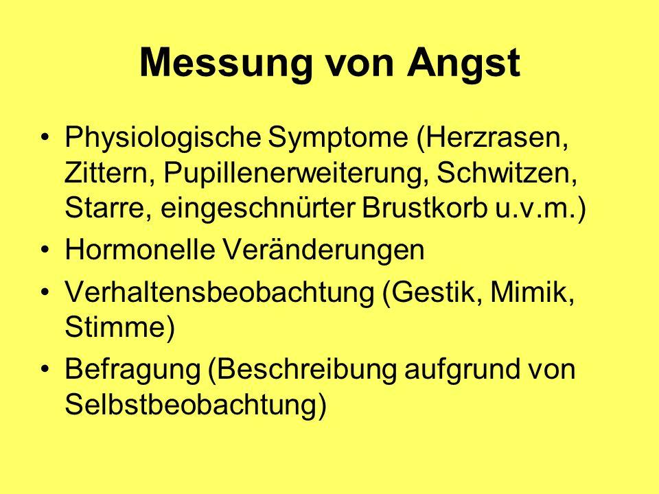 Messung von Angst Physiologische Symptome (Herzrasen, Zittern, Pupillenerweiterung, Schwitzen, Starre, eingeschnürter Brustkorb u.v.m.) Hormonelle Ver