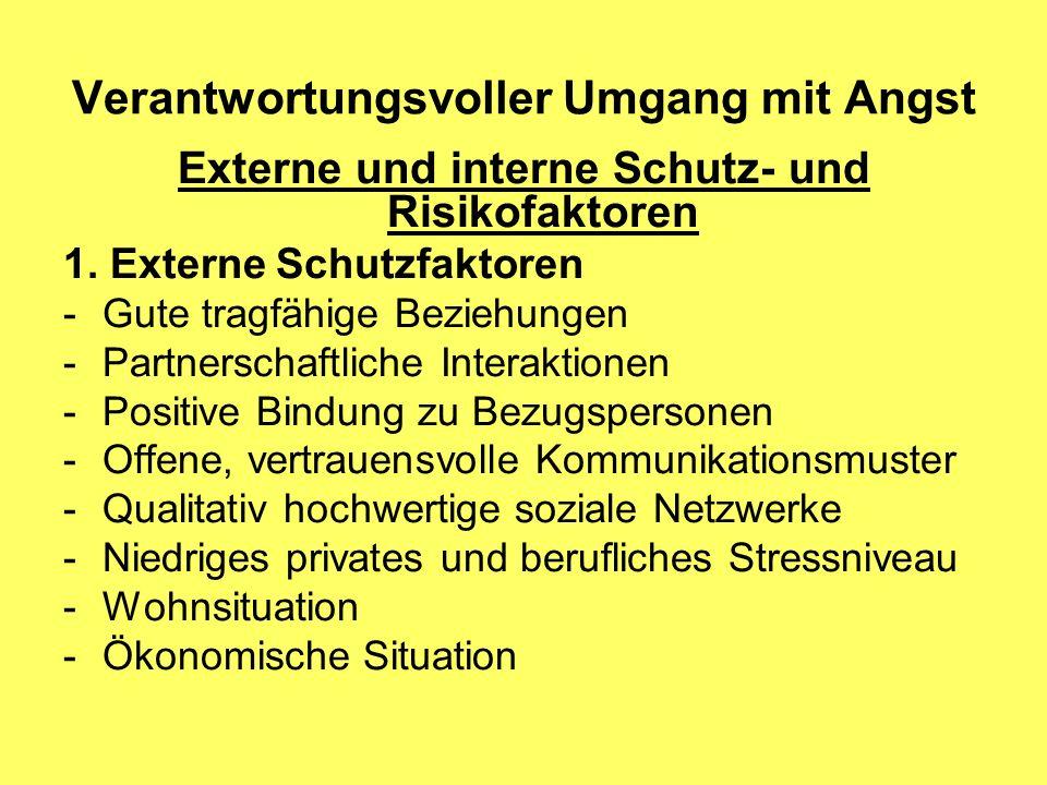 Verantwortungsvoller Umgang mit Angst Externe und interne Schutz- und Risikofaktoren 1. Externe Schutzfaktoren -Gute tragfähige Beziehungen -Partnersc