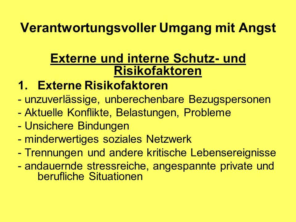 Verantwortungsvoller Umgang mit Angst Externe und interne Schutz- und Risikofaktoren 1.Externe Risikofaktoren - unzuverlässige, unberechenbare Bezugsp