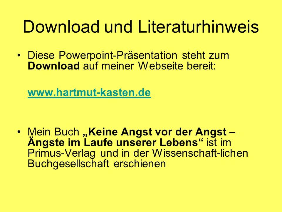 Download und Literaturhinweis Diese Powerpoint-Präsentation steht zum Download auf meiner Webseite bereit: www.hartmut-kasten.de Mein Buch Keine Angst