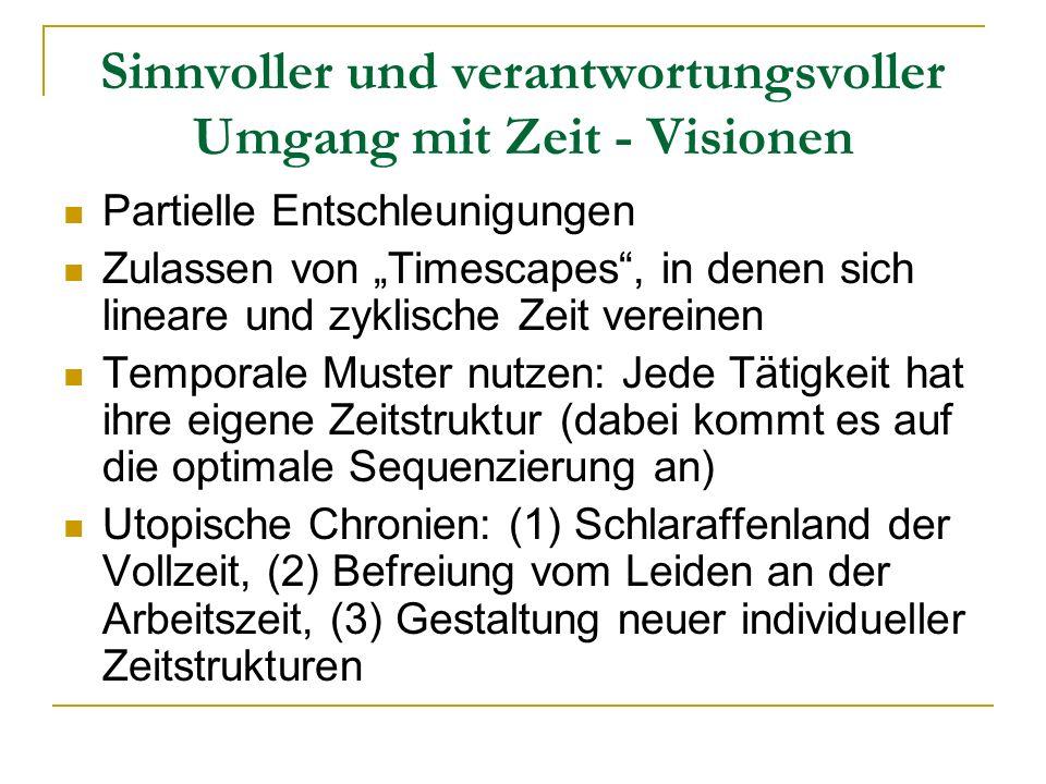 Sinnvoller und verantwortungsvoller Umgang mit Zeit - Visionen Partielle Entschleunigungen Zulassen von Timescapes, in denen sich lineare und zyklisch