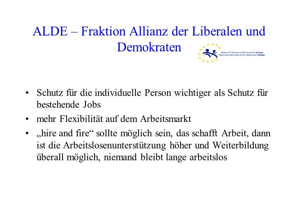 ALDE – Fraktion Allianz der Liberalen und Demokraten Schutz für die individuelle Person wichtiger als Schutz für bestehende Jobs mehr Flexibilität auf