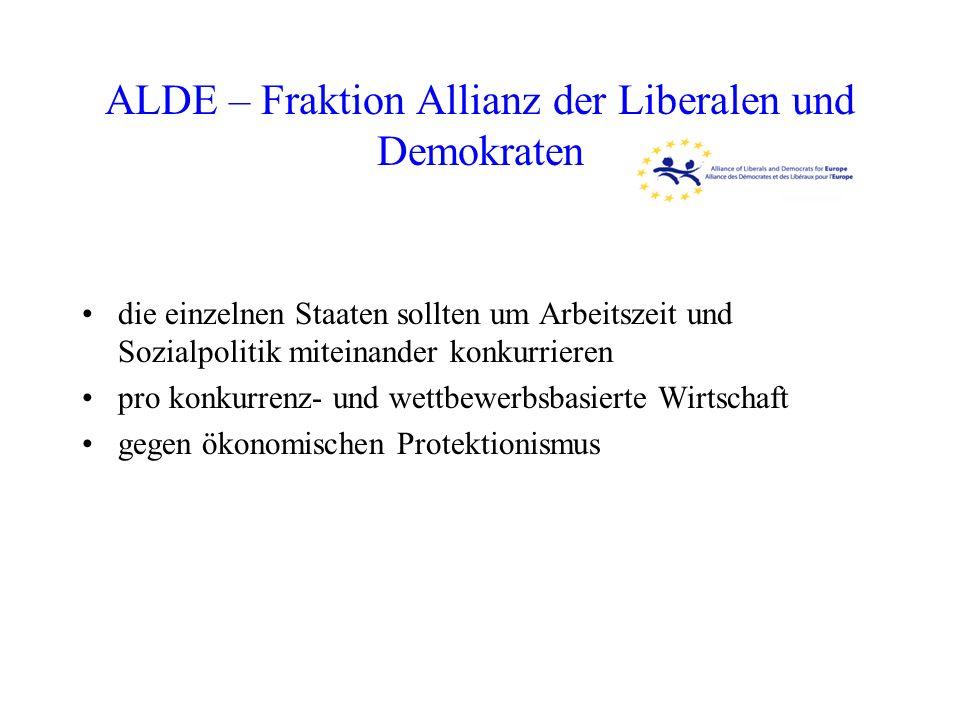 ALDE – Fraktion Allianz der Liberalen und Demokraten die einzelnen Staaten sollten um Arbeitszeit und Sozialpolitik miteinander konkurrieren pro konku
