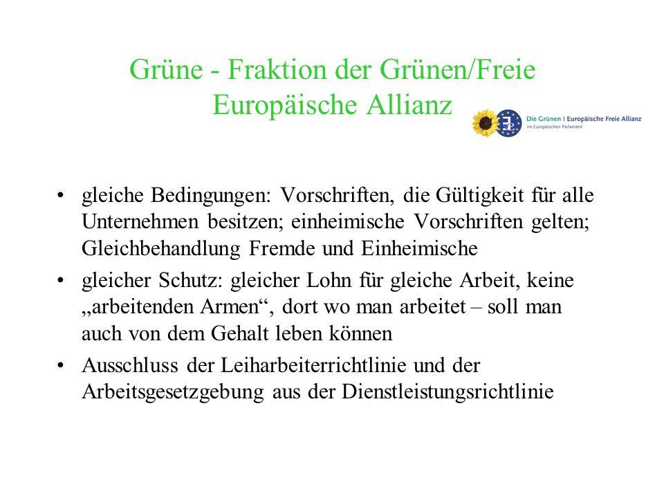 Grüne - Fraktion der Grünen/Freie Europäische Allianz gleiche Bedingungen: Vorschriften, die Gültigkeit für alle Unternehmen besitzen; einheimische Vo