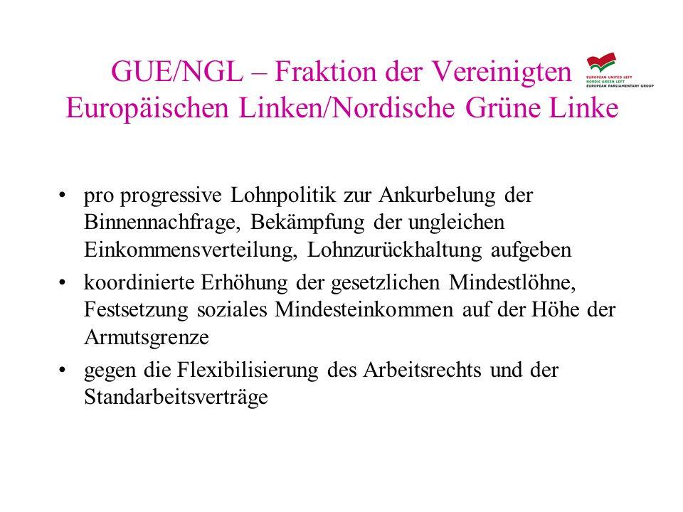 GUE/NGL – Fraktion der Vereinigten Europäischen Linken/Nordische Grüne Linke pro progressive Lohnpolitik zur Ankurbelung der Binnennachfrage, Bekämpfu