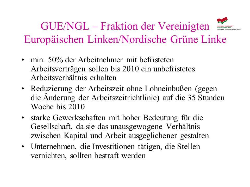 GUE/NGL – Fraktion der Vereinigten Europäischen Linken/Nordische Grüne Linke min. 50% der Arbeitnehmer mit befristeten Arbeitsverträgen sollen bis 201