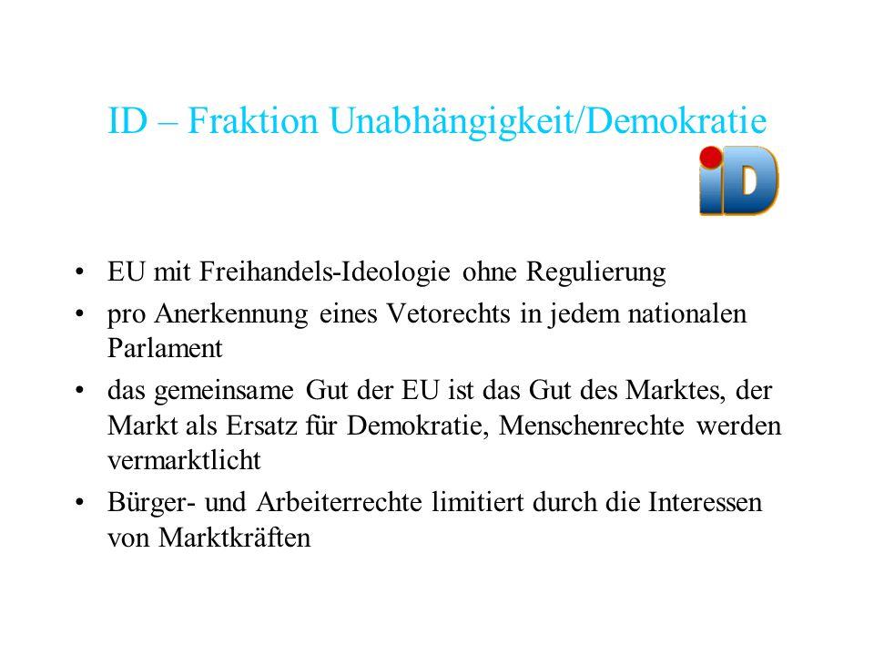 ID – Fraktion Unabhängigkeit/Demokratie EU mit Freihandels-Ideologie ohne Regulierung pro Anerkennung eines Vetorechts in jedem nationalen Parlament d