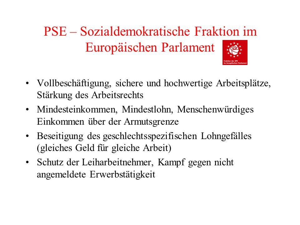 PSE – Sozialdemokratische Fraktion im Europäischen Parlament Vollbeschäftigung, sichere und hochwertige Arbeitsplätze, Stärkung des Arbeitsrechts Mind