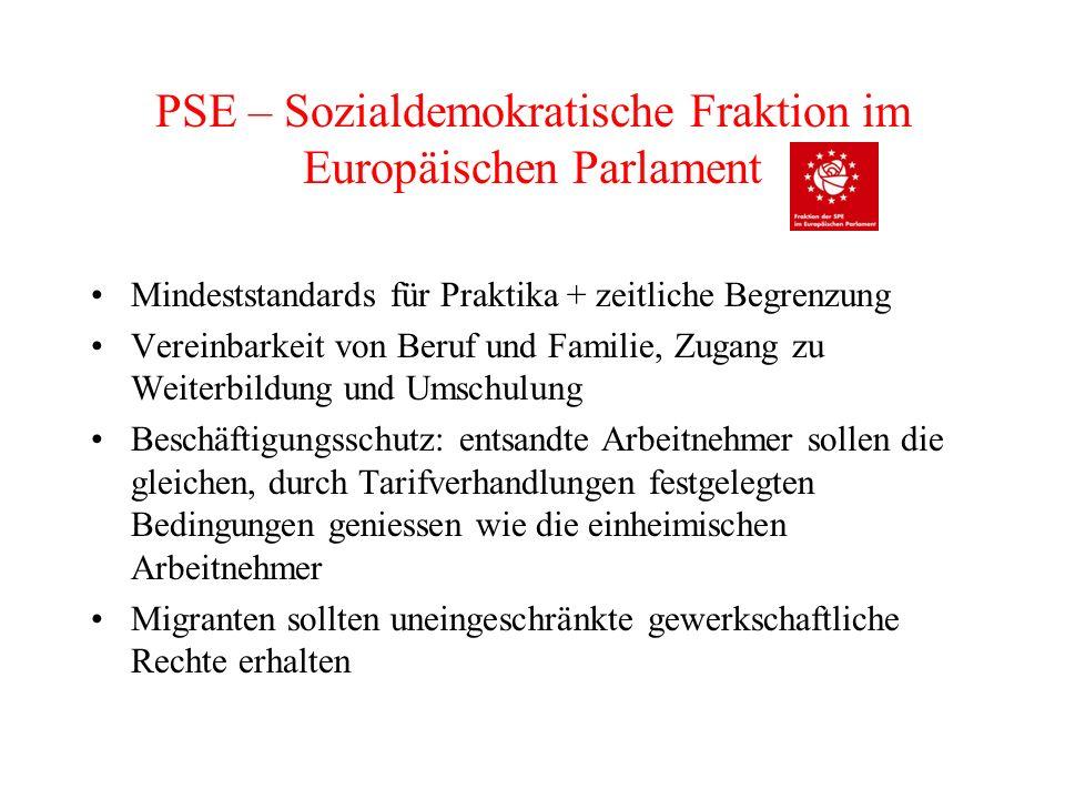 PSE – Sozialdemokratische Fraktion im Europäischen Parlament Mindeststandards für Praktika + zeitliche Begrenzung Vereinbarkeit von Beruf und Familie,