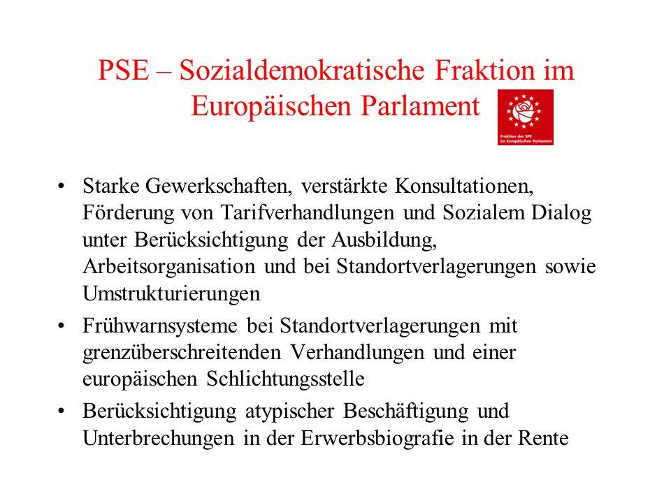 PSE – Sozialdemokratische Fraktion im Europäischen Parlament Ausweitung der Richtlinie über Europäische Betriebsräte: EBR mit Recht auf rechtzeitige Unterrichtung und Anhörung zu den Vorhaben des Unternehmens, Zugang des EBR zu fachlicher Beratung und zum Betriebsgelände Es ist ungemein wichtig, dass das Grundrecht von Gewerkschaften auf Streikmaßnahmen verteidigt wird und dass die europäischen Gesetze und Politik in keiner Weise die Sozialstandards oder die Wirksamkeit nationaler Tarifverhandlungssysteme in Frage stellen.