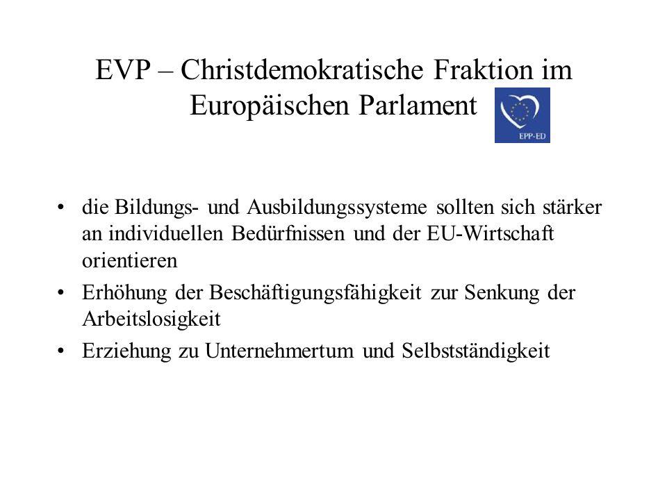 EVP – Christdemokratische Fraktion im Europäischen Parlament flexible Arbeitsmarktregelungen, Beseitigung von Regelungshürden, gegen hohe Steuern Erhöhung des unternehmerischen Denkens und der Beschäftigungsfähigkeit von Arbeitslosen freie Standortwahl für Unternehmen: Verlagerung der Produktion bei zu hohem Verwaltungsaufwand